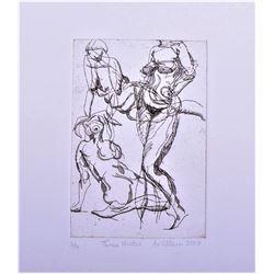 De Villen etching 2008  Three Nudes  Abstract