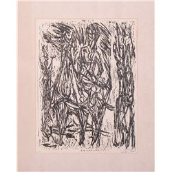 M. Hamm artist proof woodcut, abstract Ca.1960