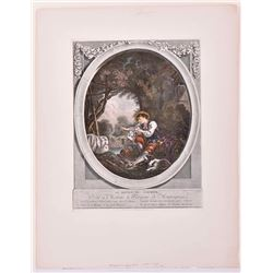 Romanticism Style hand colored copper plate