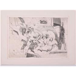 Taray, pencil signed etching Mid-Century