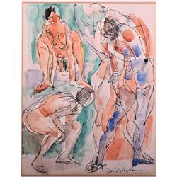 David Kaplan, artist signed, pen and watercolor