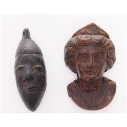 Two antique wood carvings. African and Europe
