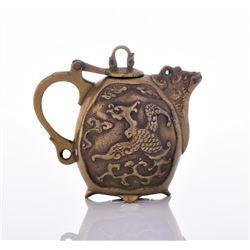 Rare Chinese Miniature Bronze Tea Pot Adorned