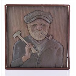 Wood Carved Relief of a Longshoreman or