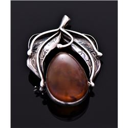 Antique Amber Sterling Silver Pin. Silver