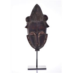 African Baule Crested Male Wood Carved Mask,