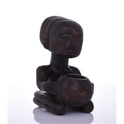 African Luba Wood Kneeling Figure Holding
