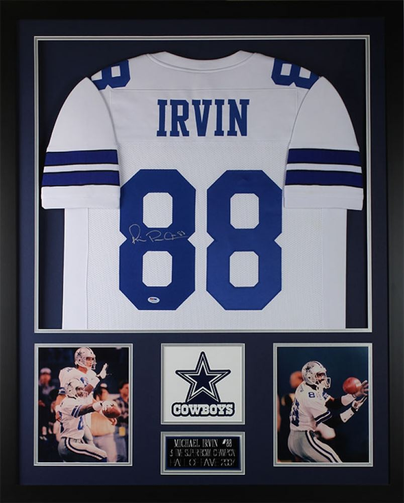 b1704bee568 Image 1 : Michael Irvin Signed Cowboys 35x43 Custom Framed Jersey (PSA COA)