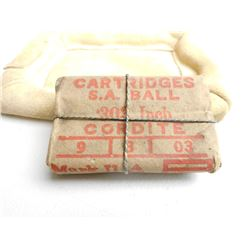 PAPER WRAPPED S.A. BALL .303 CORDITE CARTRIDGES WITH BROAD ARROW MARK