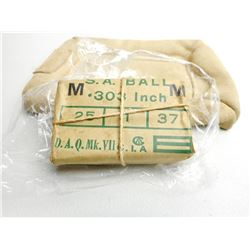 PAPER WRAPPED S.A. BALL .303  CARTRIDGES WITH BROAD ARROW MARK