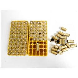 .455 COLT ASSORTED RELOAD AMMO/ AND PRIMED CASING  IN PLASTIC CASES