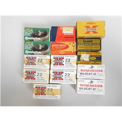 ASSORTED LOT OF .22 CAL AMMO INCLUDING SHORT, LR HYPER VELOCITY AND VARIOUS