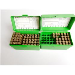 ASSORTED LOT OF 240 WEATHERBY AMMO AND CASES IN PLASTIC HOLDERS