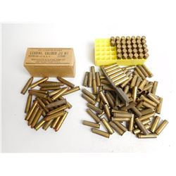 ASSORTED LOT OF 30 CARBINE AMMO INCLUDING PRIMED BRASS AND BRASS