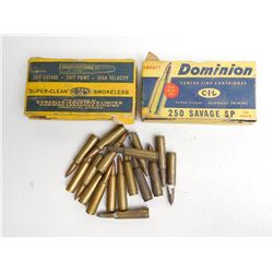 ASSOSRTED RNDS OF SAVAGE AMMO INCLUDING 250-300-303