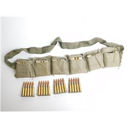 1970'S IVI 7.62 NATO ON STRIPPER CLIPS AND CLOTH BANDOLIER