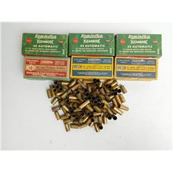 ASSORTED LOT OF 32 AUTO AND AMMO AND BRASS
