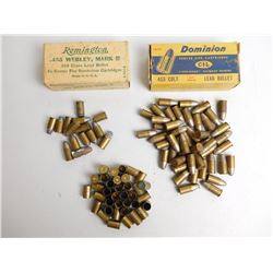 ASSORTED LOT OF 455 COLT AMMO AND BRASS