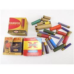 ASSORTED LOT OF 16 GA X 2 3/4 SHOTGUN SHELLS AND ASSORTED HULLS, PAPER/PLASTICS