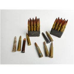 ASSORTED LOT OF RIFLE AMMO INCLUDING FEDERAL 30-06 SRPG ON STRIPPER CLIPS AND 303 BR, ETC