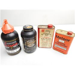 ASSORTED LOT OF POWDERS INCLUDING HODGDON TRIPLE 7, PYRODEX MUZZLE LOADING PROPELLANT RS, AND BLACK