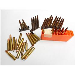 ASSORTED LOT OF RIFLE AMMO INCLUDING 303 BR, SAKO 25-05, 358 WIN, 30-06 AND VARIOUS