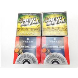 ASSORTED LOT OF 12 GA X 2 3/4 INCLUDING FEDERAL STEEL GAME AND TARGET AND HEVI-METAL VARIOUS SHOT SI