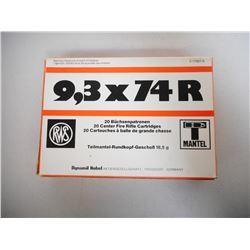 RWS 9,3 X 74R 285 GR SOFT POINT, ROUND NOSE AMMUNTION