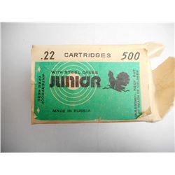 JUNIOR WITH STEEL CASES .22 CARTRIDGES MADE IN RUSSIA IN ORGINAL PACKAGING