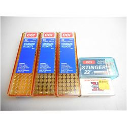ASSORTED LOT OF 22 LR AND SHORT INCLUDING CCI 22 LR STANDARD VELOCITY , CCI STINGER 22 AND WINCHESTE