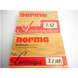 ASSORTED LOT OF AMMUNITION INCLUDING NORMA 7 X 57 AND 7.7 JAP