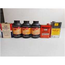 ASSPORTED LOT INCL.HODGDON PYRODEX MUZZLELOADING PROPELLANT AND VARIOUS POWDERS
