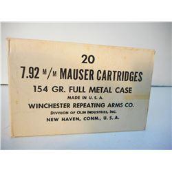 WINCHESTER 7.92 M/M MAUSER 154 GR FULL METAL CASE AMMUNITION