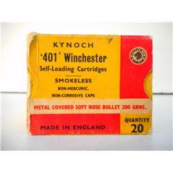 KYNOCH .401 WINCHESTER SELF-LOADING SMOKELESS CARTRIDGES