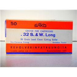 SAKO .32 S & W LONG, 98 GR SEALED BOX OF AMMUNITION