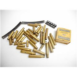 ASSORTED LOT OF BRASS CASES AND STRIPPER CLIPS INCL 308, 30-06, 30 CARBINE AND VARIOUS