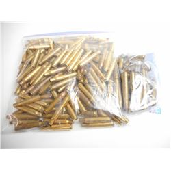 ASSORTED LOT OF RIFLE BRASS INCLUDING 358 WIN, 358 SPRG, 308 WIN, 25-06, SOME WITH BULLET ADDED BUT
