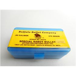 BUFFALO BULLET CO .50 CAL 375 GR  SPITZER HOLLOW POINT BOAT TAIL
