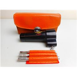 GLOBE FIREARMS BORE SIGHTER IN LEATHER CASE WITH ACCESSORIES