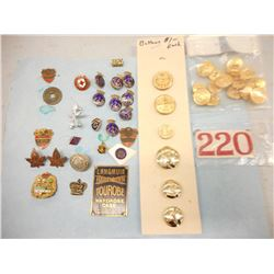 ASSORTED CANADIAN/ BRITISH MILITARY PINS & BUTTONS