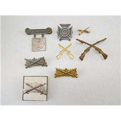 ASSORTED MARKSMAN PINS AND BADGES