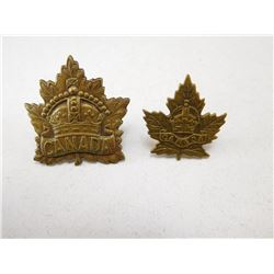 CANADA CROWN CAP & COLLAR BADGE