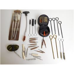 ASSORTED LOT INCLUDING PARDINI ARMI PISTOL CLEANING KIT TRIGGERS FOR .32 CAL BARREL