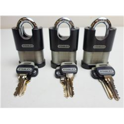 3 STANLEY SECURITY LOCKS WITH 2 SETS OF KEYS