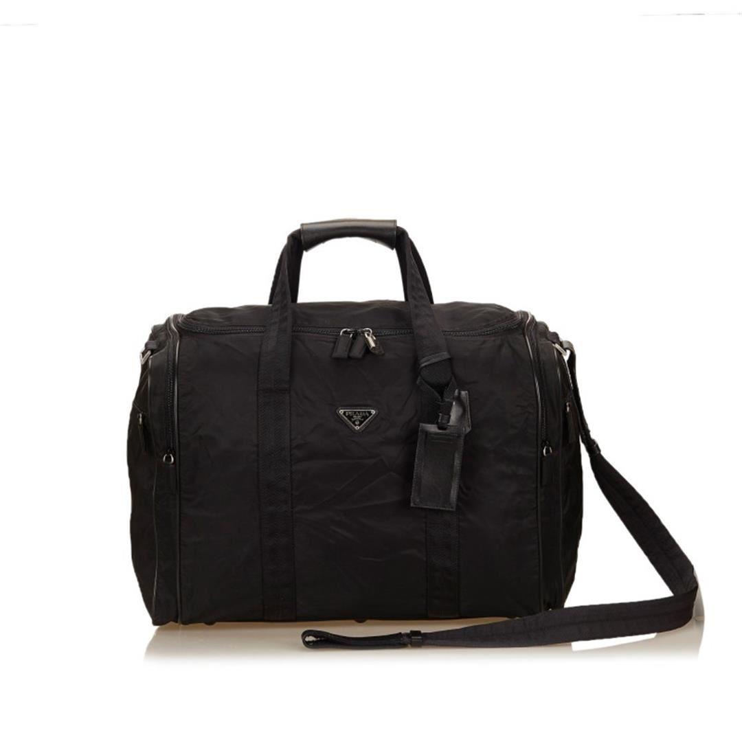 d56e2846e08f Image 1   Prada Black Nylon Leather Zipper Strap Travel Duffel Bag ...