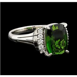 4.29 ctw Tourmaline and Diamond Ring - Platinum