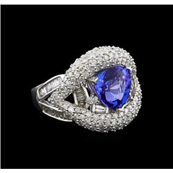 14KT White Gold 2.94 ctw Tanzanite and Diamond Ring