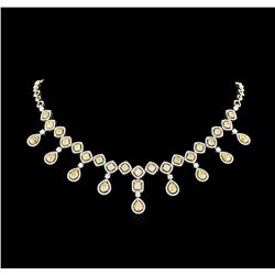 30.65 ctw Fancy Yellow Diamond Necklace - 18KT Two-Tone Gold