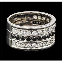 0.84 ctw Diamond and Black Diamond Ring - 18KT White Gold