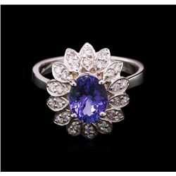 2.00 ctw Tanzanite and Diamond Ring - 14KT White Gold